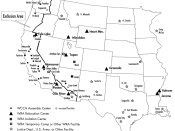 Map of internment camps during the internment of Japanese Americans in World War II.