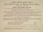 An ad for Adventures of Huckleberry Finn from the back of the sales prospectuses canvassers used to sell the book door-to-door.