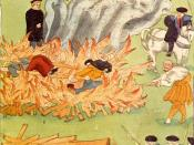 Artistic depiction of the execution by burning of three alleged witches in Baden, Germany in 1585