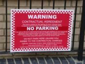 English: Contractual Agreement? There are many of these signs around St Matthew's Gardens. Central Ticketing's methods have attracted some comment, as here http://www.consumeractiongroup.co.uk/forum/parking-traffic-offences/103287-central-ticketing-anyone
