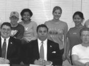English: Bearcat Voice Leadership 2002, Seated: Janson Thomas, Ryan Bauer and John Lakebrink. Standing: Eric Grantham, Dan Nowosielski, Ritu Jain, Jordan Orscheln, Joy Hayes, and Sarah Swedberg. This photo was uploaded to compliment the article Bearcat Vo