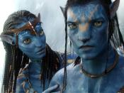 Jake's avatar and Neytiri. One of the inspirations for the look of the Na'vi came from a dream that Cameron's mother had told him about.