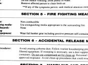 An example Material safety data sheet (MSDS), giving instructions for handling a hazardous substance.