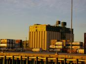 Grain elevator seen from the Mississippi River, Port of New Orleans