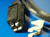 Typical connector used in IBM structured cabling, which was used for Token Ring networks. Unlike almost all other electrical connectors, there are no male and female versions of the connector, two identical connectors can be coupled together. This one is