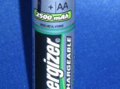 Energizer AA size 2500 mA·h (1.2 V, 3.0 W·h, NiMH) rechargeable cell