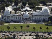 The Haitian National Palace (Presidential Palace), located in Port-au-Prince, Haiti, heavily damaged after the earthquake of January 12, 2010. Note: this was originally a two-story structure; the second story completely collapsed.