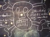 A school chalkboard in Kigali. Note the names