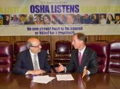 OSHA alliance signing with OSHA Asst. Secertary David Michaels