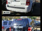 English: Photo arrangement showing the flexible-fuel and hybrid versions of the Ford Escape, Alexandria, Virginia, USA: