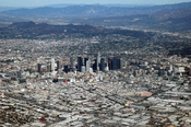 English: Downtown Los Angeles as seen from my American Airlines flight from Japan.