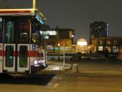 A York University TTC bus standing near Accolade West waiting for students to cross