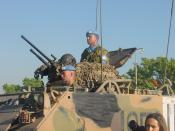 English: Australian peacekeepers in East Timor. M113 armoured personnel carrier of 3rd/4th Cavalry Regiment