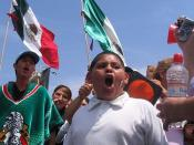 Illegal Immigrant rights protest in the US/Mexico border in Tijuana