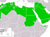 English: The settlement area of the Arabs in the Middle East and in North Africa Deutsch: Das Siedlungsgebiet der Araber im Nahen Osten und in Nordafrika