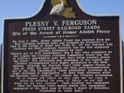 English: Photo of the front of Plessy v. Ferguson marker in New Orleans, Louisiana, USA. written by historian Keith Weldon Medley for placement by the Crescent City Peace Alliance and placed on the corner of Press Street and Railroad Yards Feb. 12, 2009