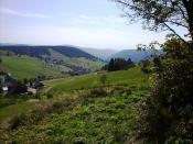 Martin Heidegger Blick von seiner Hütte über das Todtnauer Land; view from Heidegger's mountain hut over Todtnau