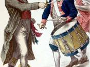 Deutsch: colorierter Stich aus dem 19. Jahrhundert, Männer mit Jakobinermützen darstellen, zum Teil ohne, zum Teil mit Culotte.