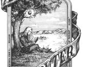 English: Apple's absolute first logo, pre 1976. Drawn by then co-founder Ronald Wayne. The logo features Sir Isaac Newton sitting under the apple tree where he supposedly discovered gravity, by an apple falling on his head. See http://www.macmothership.co
