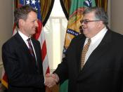 English: Secretary Geithner met with Mexican Finance Minister Agustin Carstens at the U.S. Department of the Treasury on February 9, 2009 to discuss strengthening U.S.-Mexican economic and financial cooperation and to exchange views on the U.S. and Mexica