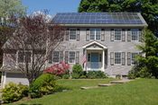 Photovoltaic solar panels on the roof of a house near Boston Massachusetts.