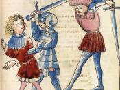 Parzival und Condviramur. Handschrift aus der Werkstatt von Diebold Lauber, Hagenau (15. Jahrhundert), Heidelberg, Cod. Pal. germ. 339, 135r