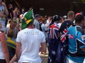 Crowds gathered at North Cronulla amid Australian flags and anti-Lebanese fanfare.