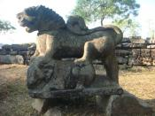 9th-10th century lion-sculpture representing powerful Kamarupa-Palas, Madan Kamdev, Assam.