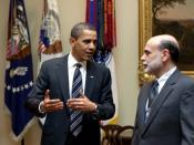 English: President Barack Obama confers with Federal Reserve Chairman Ben Bernanke following their meeting at the White House.