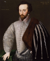 Sir Walter Ralegh, by 'H' monogrammist (floruit 1588). See source website for additional information. This set of images was gathered by User:Dcoetzee from the National Portrait Gallery, London website using a special tool. All images in this batch have a
