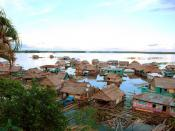 English: Amazon River floating village neighborhood in Iquitos, Peru. Deutsch: Schwimmende Häusersiedlung auf dem Amazonas in Iquitos, Peru. Français : Amazone, Iquitos, Pérou. Español: Amazonas, Iquitos, Perú.
