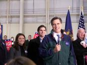 Mitt Romney at one of his presidential campaign rallies.