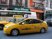 English: A Toyota Prius hybrid taxi in New York City.