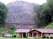 English: Valley fill - Mountaintop removal coal mining in Martin County, Kentucky