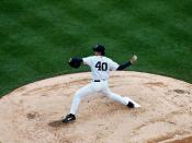 Wang in Pitcher's mound (Yankees stadium) 1
