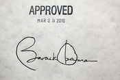 English: President Barack Obama's signature on the health insurance reform bill at the White House, March 23, 2010. The President signed the bill with 22 different pens.
