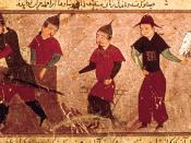 The 14th-century Persian manuscript shows Genghis Khan and three of his four sons by_Rashid_al-Din_1305