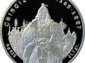 English: Reverse 100 Tenge coin depicting Genghis Khan