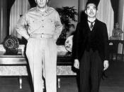 English: Emperor Hirohito and General MacArthur, at their first meeting, at the U.S. Embassy, Tokyo, 27 September, 1945