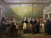 Depiction by John Trumbull of Washington resigning his commission and position as commander-in-chief