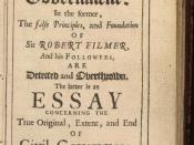 John Locke's 1689 Two Treatises of Government, in it Locke calles