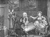 William Hogarth's A Harlot's Progress, plate 2, from 1731 showing Moll Hackabout as a mistress.