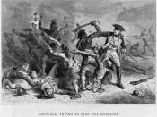 Louis-Joseph de Montcalm trying to stop Native Americans from attacking British soldiers and civilians as they leave Fort William Henry at the Battle of Fort William Henry.