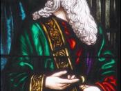 A stain glass window representation of Polonius.
