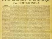Front page cover of the newspaper L'Aurore of Thursday 13 January 1898, with the letter J'accuse...!, written by Émile Zola about the Dreyfus affair. The headline reads