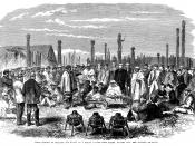 An 1863 meeting between Māori and settlers in a pā whakairo (carved pā) in Hawke's Bay Province.