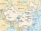 English: Map of China from CIA World Factbook, modified. coloured, further labeled.