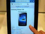English: Samsung Galaxy Tab showing its Wikipedia article.
