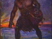 An illustration of Grendel by J.R. Skelton from Stories of Beowulf. Grendel is described as