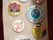 Feminist pin buttons The Women's Museum, Dallas, Texas